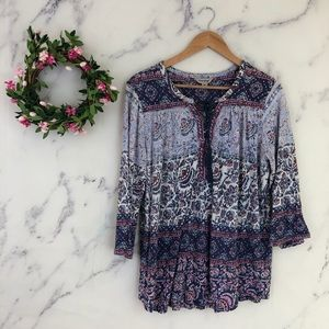 Lucky Brand Lace Up Neck Blouse
